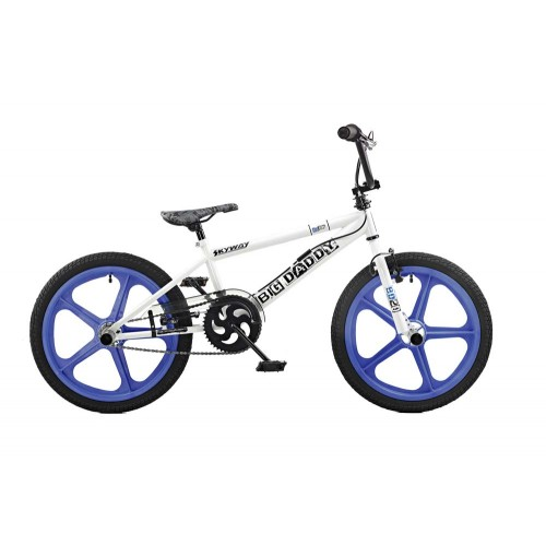 Rooster Big Daddy White - Blue Skyway Mag Wheels BMX Bike