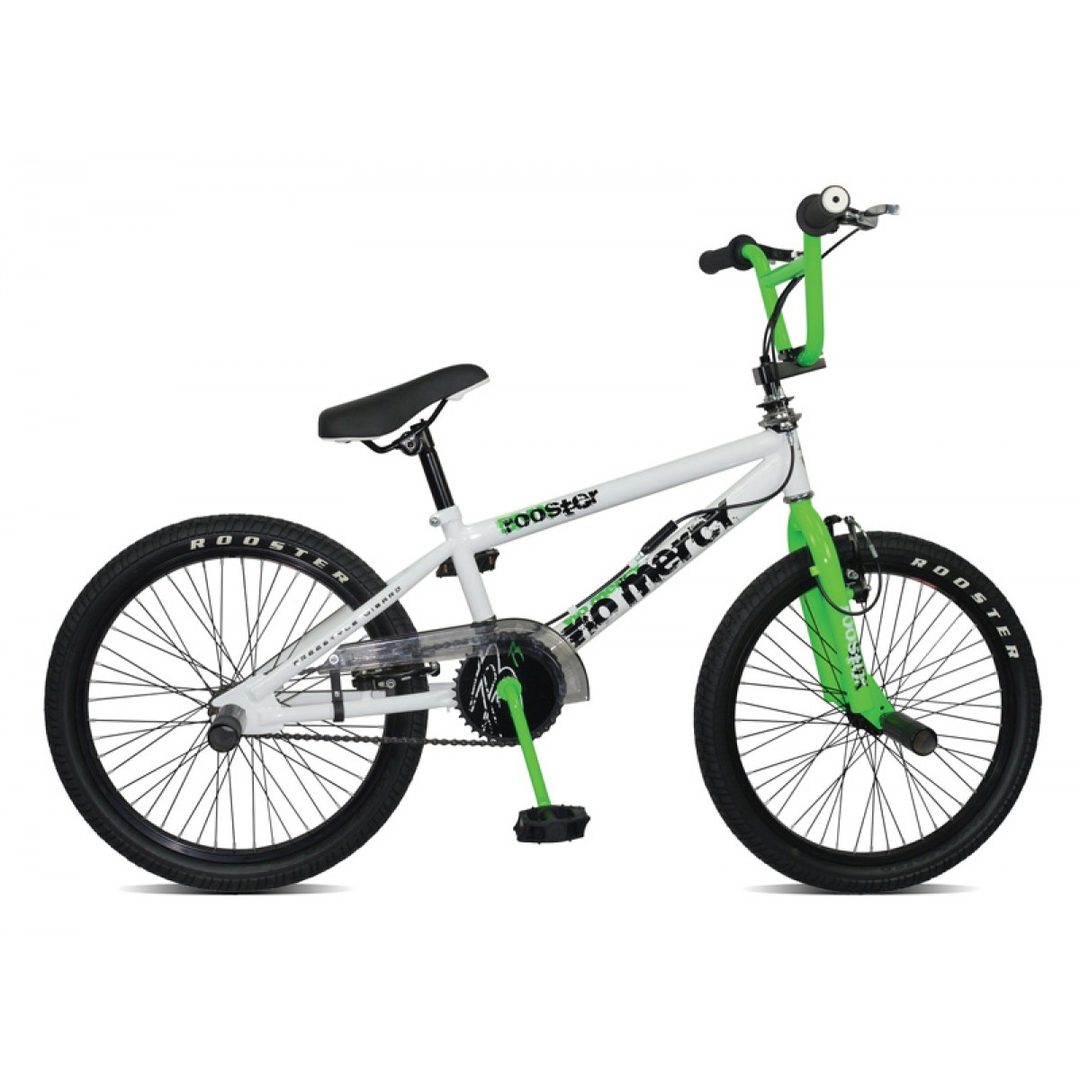 rooster no mercy 20 boys white green bmx bike. Black Bedroom Furniture Sets. Home Design Ideas